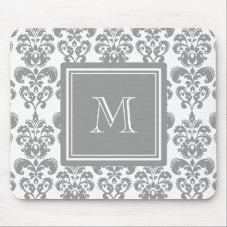 Su monograma, modelo gris 2 del damasco tapetes de ratón