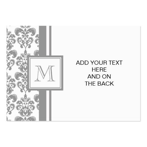 Su monograma, modelo gris 2 del damasco tarjetas de visita grandes