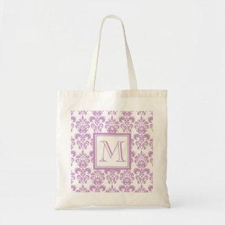 Su monograma, modelo púrpura 2 del damasco bolsa tela barata