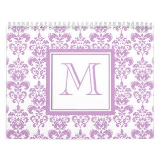 Su monograma, modelo púrpura 2 del damasco calendario