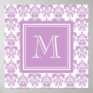 Su monograma modelo púrpura 2 del damasco poster