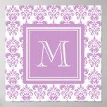 Su monograma, modelo púrpura 2 del damasco poster