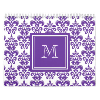 Su monograma, modelo púrpura oscuro 2 del damasco calendario