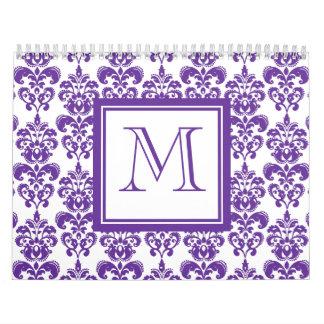 Su monograma, modelo púrpura oscuro 2 del damasco calendarios de pared