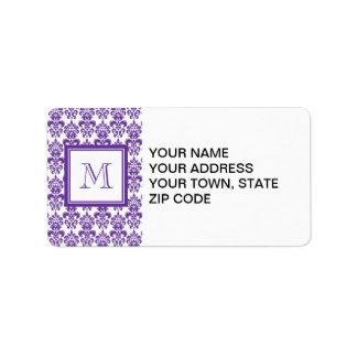Su monograma, modelo púrpura oscuro 2 del damasco etiqueta de dirección