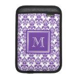 Su monograma, modelo púrpura oscuro 2 del damasco funda para iPad mini