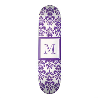Su monograma, modelo púrpura oscuro 2 del damasco patín personalizado