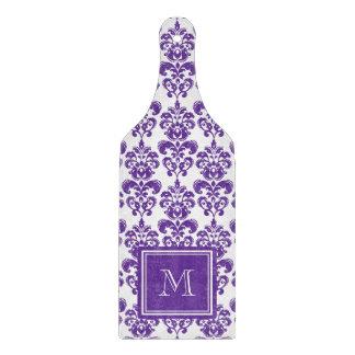 Su monograma, modelo púrpura oscuro 2 del damasco tabla para cortar