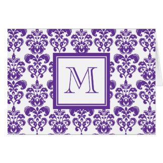 Su monograma, modelo púrpura oscuro 2 del damasco tarjeta pequeña