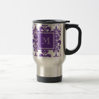 Su monograma, modelo púrpura oscuro 2 del damasco taza de viaje