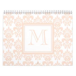 Su monograma, modelo rosado 2 del damasco de la calendarios