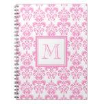 Su monograma, modelo rosado 2 del damasco cuadernos
