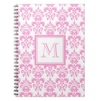 Su monograma, modelo rosado 2 del damasco libro de apuntes con espiral