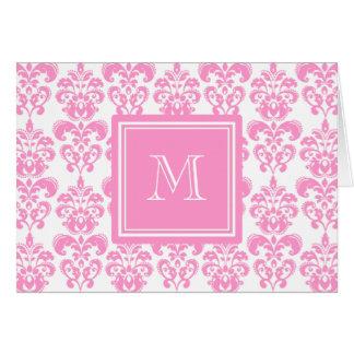 Su monograma, modelo rosado 2 del damasco tarjeta pequeña