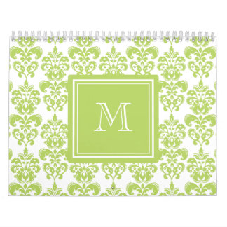 Su monograma, modelo verde claro 2 del damasco calendarios