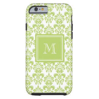 Su monograma, modelo verde claro 2 del damasco funda de iPhone 6 tough