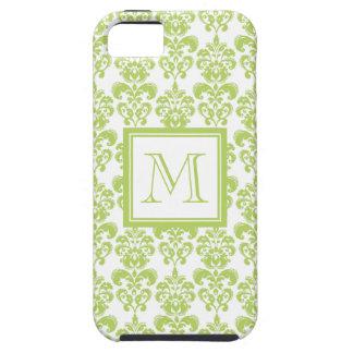 Su monograma, modelo verde claro 2 del damasco iPhone 5 Case-Mate cobertura