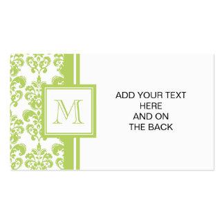 Su monograma, modelo verde claro 2 del damasco plantilla de tarjeta de visita