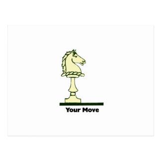Su movimiento - pedazo de ajedrez del vintage tarjetas postales