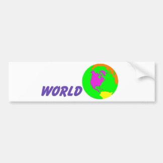 Su mundo pegatina de parachoque