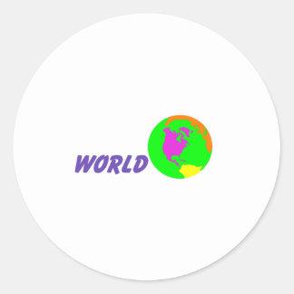 Su mundo pegatina redonda