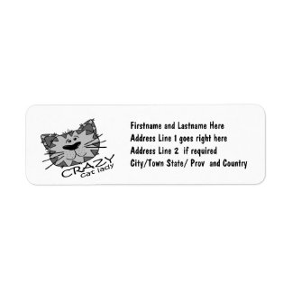 Su muy posea a la señora LOCA del gato Etiqueta De Remite