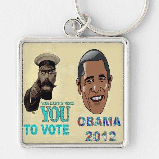Su necesidad del país usted de votar a OBAMA 2012 Llavero Cuadrado Plateado