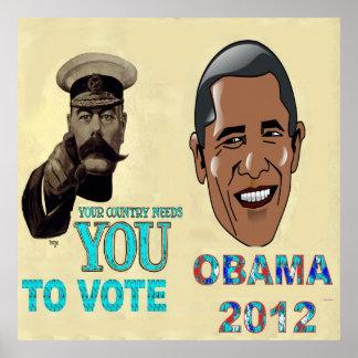 Su necesidad del país usted de votar, lona 2012 de póster