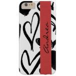 Su nombre - amor, romance, corazones - rojo negro funda de iPhone 6 plus barely there