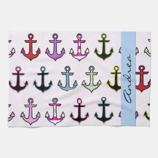 Su nombre - anclas coloridas (anclas del barco) toallas de mano
