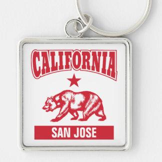Su nombre California de la ciudad personalizada Llavero Cuadrado Plateado