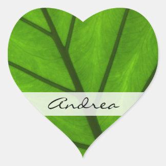 Su nombre - cierre botánico para arriba - hojas pegatina en forma de corazón