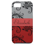 Su nombre - damasco, ornamentos - gris negro rojo iPhone 5 fundas