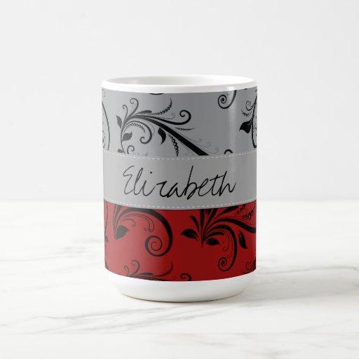 Su nombre - damasco, ornamentos - gris negro rojo taza