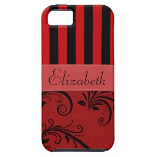 Su nombre - damasco, ornamentos, rayas - negro iPhone 5 coberturas