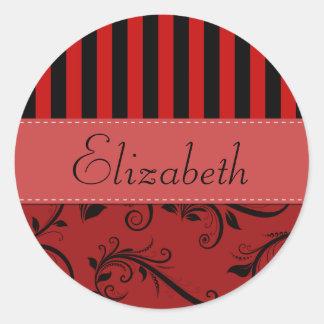 Su nombre - damasco, ornamentos, rayas - negro pegatina redonda