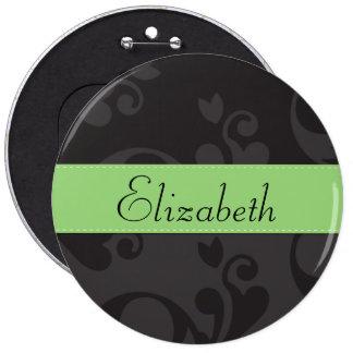 Su nombre - damasco ornamentos - verde negro gris