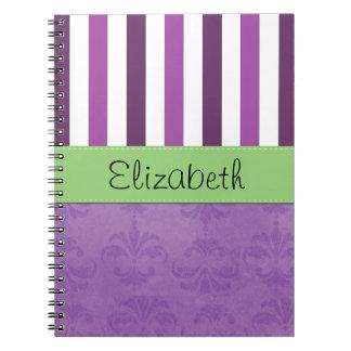 Su nombre - damasco, rayas - verde blanco púrpura libro de apuntes con espiral