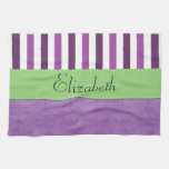 Su nombre - damasco, rayas - verde blanco púrpura toalla de mano