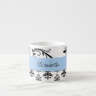 Su nombre - damasco, remolinos - azul blanco negro taza espresso