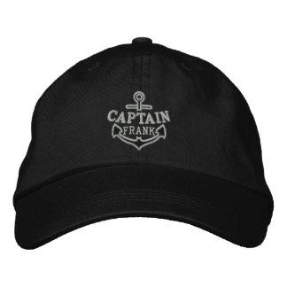 Su nombre en capitán náutico del bordado del ancla gorro bordado