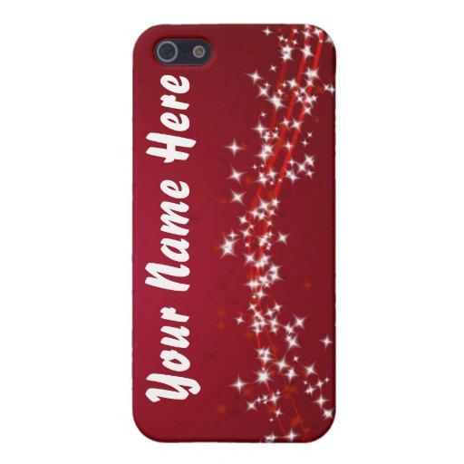 Su nombre en luces - caja roja del iPhone iPhone 5 Protectores