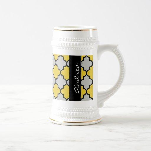 Su nombre - enrejado marroquí - negro gris amarill taza de café