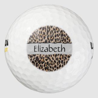 Su nombre - estampado de animales, leopardo pack de pelotas de golf