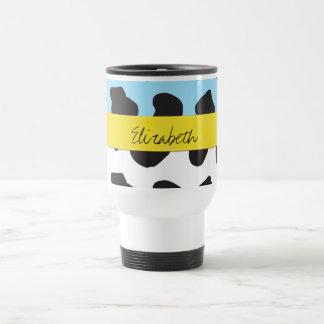 Su nombre - estampado de animales, vaca - azul tazas de café