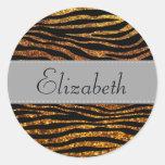 Su nombre - estampado de zebra, brillo - gris del pegatina redonda