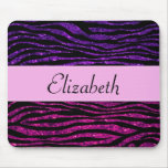 Su nombre - estampado de zebra, brillo - púrpura r alfombrilla de raton