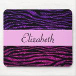 Su nombre - estampado de zebra, brillo - púrpura alfombrilla de raton