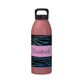 Su nombre - estampado de zebra, brillo - rosa azul botella de beber