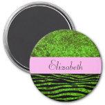 Su nombre - estampado de zebra, brillo - rosa imán redondo 7 cm